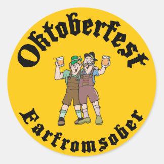 Oktoberfest Far From Sober Round Sticker