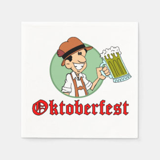 Oktoberfest German Cartoon Guy With Beer Party Disposable Serviettes