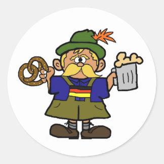 Oktoberfest German Man with Beer & Pretzel Sticker