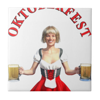Oktoberfest Girl with Beer steins and Title Tile