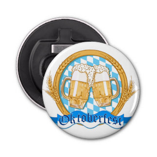 Oktoberfest Label Design With Beer Glasses Bottle Opener