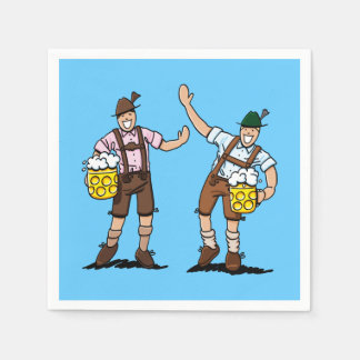 Oktoberfest Lederhosen Men Beer Stein Disposable Serviette