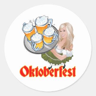 Oktoberfest Mädchen Round Sticker