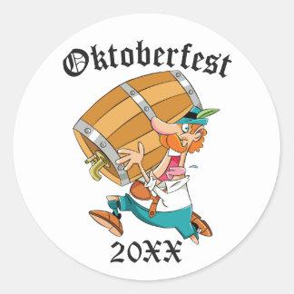 Oktoberfest Man With Keg Classic Round Sticker