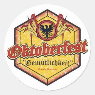 Oktoberfest - Pentagon Design Round Sticker