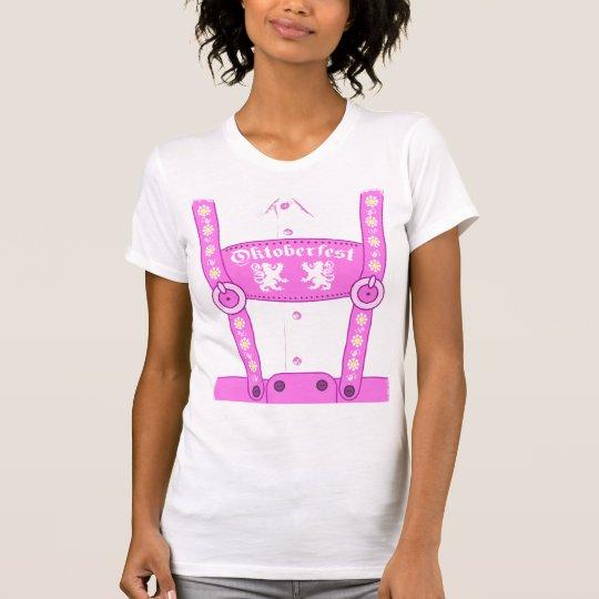 Oktoberfest Pink Lederhosen T-Shirt