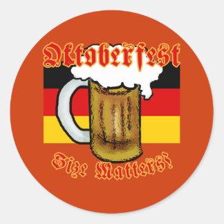 Oktoberfest Size Matters Fun Tshirt Round Stickers