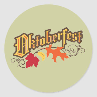 oktoberfest text and autumn leaves classic round sticker