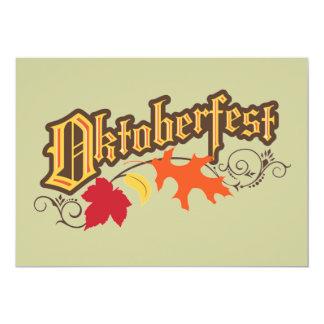 oktoberfest text and autumn leaves invitation