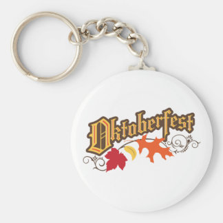 oktoberfest text and autumn leaves key ring