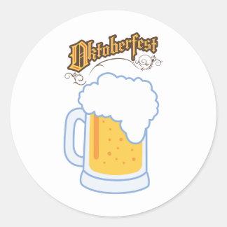 oktoberfest text and beer round sticker