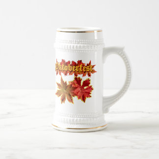 Oktoberfest Text Design With Autumn Leaves Mugs