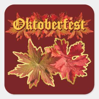 Oktoberfest Text Design With Autumn Leaves Square Sticker