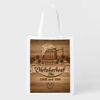 Oktoberfest, vintage poster with wooden