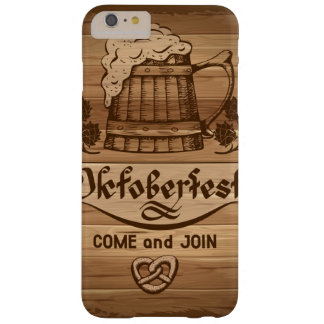 Oktoberfest, vintage poster with wooden barely there iPhone 6 plus case