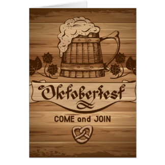 Oktoberfest, vintage poster with wooden card