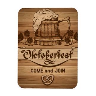 Oktoberfest, vintage poster with wooden magnet