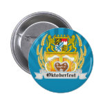 Oktoberfest with Bavarian Arms and beer steins Button