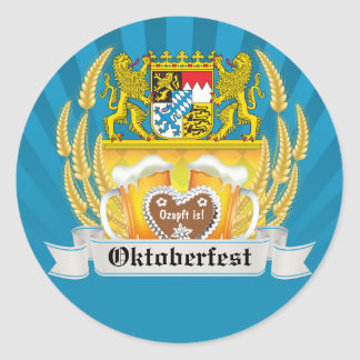Oktoberfest with Bavarian Arms and beer steins Stickers