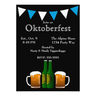 Oktoberfest with Flags 14 Cm X 19 Cm Invitation Card
