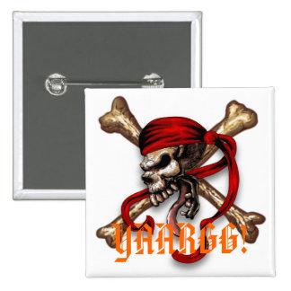 Ol Pirate Skull, YAARGG! 15 Cm Square Badge