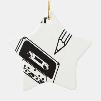 ol school cassette ceramic star decoration