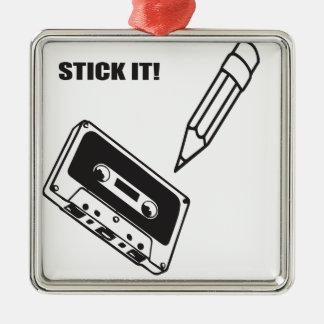 ol school cassette Silver-Colored square decoration