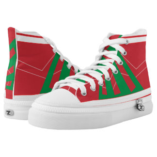 Olasz Red and Green Triad High Top Printed Shoes