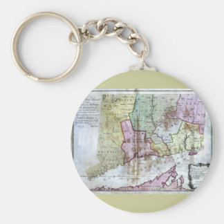 Old 1766 Connecticut Map Basic Round Button Key Ring