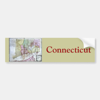 Old 1766 Connecticut Map Bumper Stickers