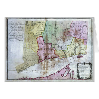 Old 1766 Connecticut Map Card