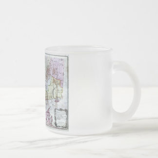 Old 1766 Connecticut Map Frosted Glass Coffee Mug