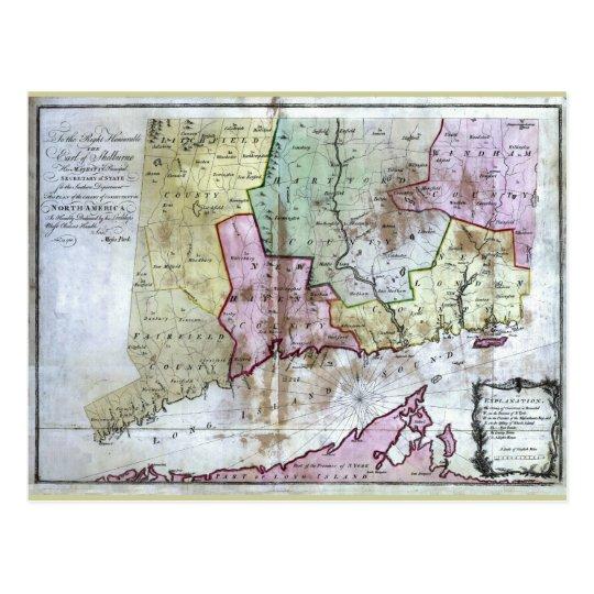 Old 1766 Connecticut Map Postcard