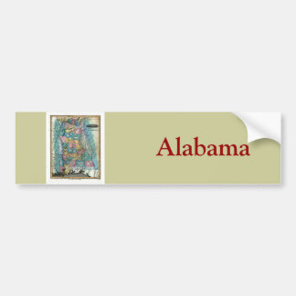 Old 1826 Alabama Map Bumper Sticker