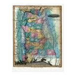 Old 1826 Alabama Map Postcards