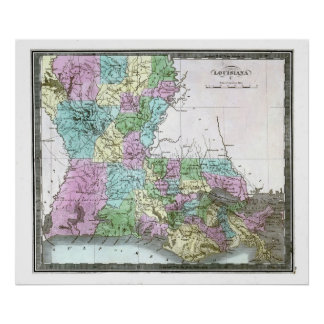 Old 1848 Louisiana Map Poster