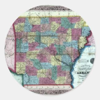 Old 1854 Arkansas Map Classic Round Sticker