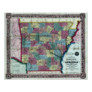 Old 1854 Arkansas Map Poster