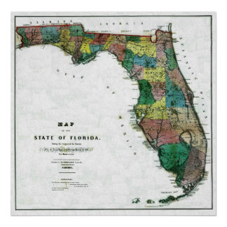 Old 1856 Florida Map Poster