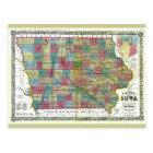Old 1856 Iowa Map Postcard