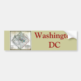 Old 1862 Washington District of Columbia Map Bumper Sticker