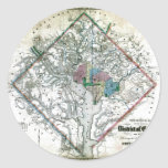 Old 1862 Washington District of Columbia Map Round Sticker