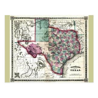 Old 1866 Texas Map Postcard