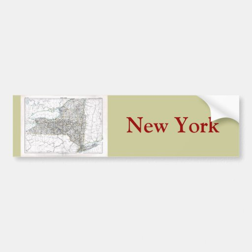 Old 1884 New York Map Bumper Stickers