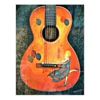 Old Acoustic Guitar Postcard