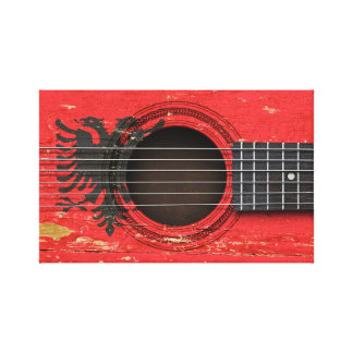 Old Acoustic Guitar with Albanian Flag Stretched Canvas Prints