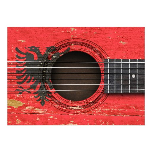 Old Acoustic Guitar with Albanian Flag Custom Announcements