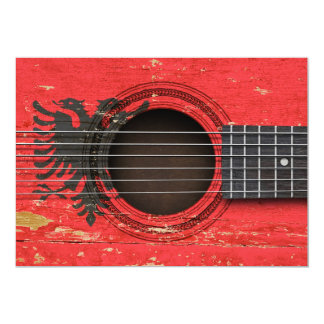Old Acoustic Guitar with Albanian Flag 5x7 Paper Invitation Card