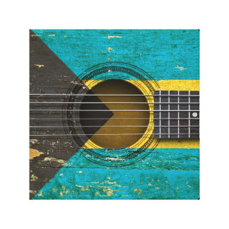 Old Acoustic Guitar with Bahamas Flag Gallery Wrap Canvas