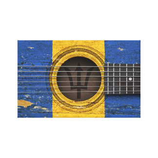 Old Acoustic Guitar with Barbados Flag Gallery Wrap Canvas